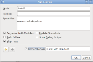 Netbeans maven build without test cases
